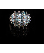 5ct Blue Topaz Ring - Vintage Sterling Silver cocktail ring - size 9 - H... - $85.00