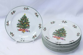 "Noel Morning Xmas Salad Plates 7.25"" Lot of 8 - $48.99"