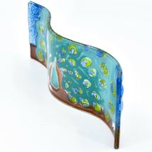 Fused Art Glass Peacock Showy Plume Wavy Decor Sun Catcher Handmade Ecuador image 4