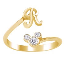 Mickey Mouse Disney Initial R Ring Round Cut Diamond 18k Gold Plated 925 Silver - $22.89