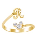 Mickey Mouse Disney Initial R Ring Round Cut Diamond 18k Gold Plated 925... - £17.40 GBP