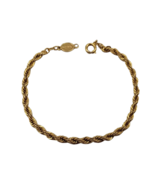 "Pretty Gold Tone Rope Chain Style Bracelet Signed Napier 7 1/4"" Long  - $19.79"
