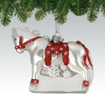 Dashing Through The Snow Glass Painted Pony Ornament - $19.95