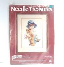 VTG Needle Treasures Crewel Embroidery Kit JIMMY needlepoint boy bear hat #00545 - $24.74