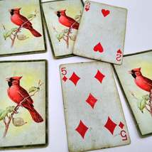 6 Cardinal Playing Cards for Crafting, Re-purpose, Up-cycle, Vintage Supplies, J image 2