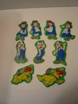 Vintage Puffy Magnets Raggedy Ann Andy Arthur Set of 9 Bobbs Merrill 197... - $17.82