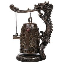 Auspicious Fengshui Oriental Dragon Gong Bell Replica Decorative Statue ... - $49.49