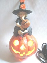 Little Girl Witch Seated on JOL Lighted Lamp Skylar Halloween by Bethany... - $38.56