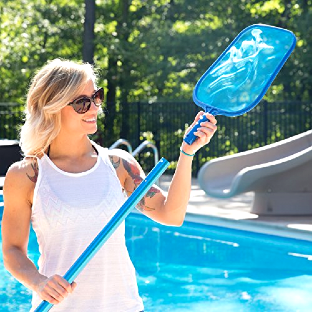 Pool Skimmer for Cleaning Swimming Pool Supplies Cleaner Mesh Net Leaf Catcher