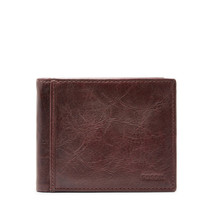 fossil man genuine leather wallet Ingram RFID Bifold with Flip ID - $27.00