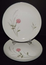 2 Kimberly Cecelia Fine China Japan Bread Plates Rose Silver Rim Vintage  - $24.74