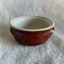 Vintage Hall Pottery Bowl #308 Small Casserole Dish Brown Outside Made i... - $19.39