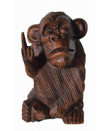 6 Inch Rude Monkey Flipping The Bird Middle Finger Wooden Statue WorldBa... - $19.74