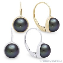 Cultured Black Freshwater Pearl 14k Yellow or White Gold Leverback Drop ... - $129.99
