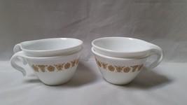 Corelle Gold Butterfly Vintage Cups Mugs Open Hook Handle Corning Ware Set 4 Vtg - $26.97