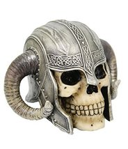 5 Inch Celtic Helmet Warrior Skeleton Skull Resin Statue Figurine by PTC - $23.99
