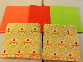 """50 4"""" Pre-Cut Quilt Squares Green, Orange & Red Design #25 - $9.88"""
