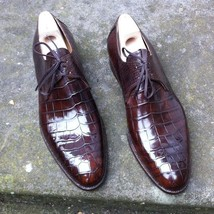 Handmade Men's Crocodile Texture Leather Shoes image 5