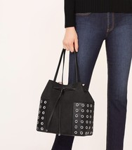 BNWT~ Tory Burch Block-T Grommet Drawstring Tote Handbag Purse ~ Black $525 - $242.55