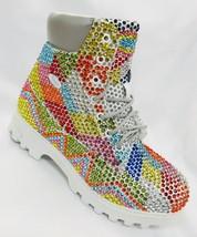 Men's White | Multicolor Diagonal Fashion Rhinestones Boots - $899.00