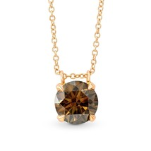 1.41Cts Champagne Diamond Solitaire Pendant Necklace Set in 18K  Rose Go... - £4,154.13 GBP