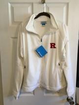 New Columbia Athletics Women's Rutgers Scarlet Knights White Jacket Xl Fleece - $49.49
