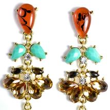 """Mode Red-Brown Lucite Bead 2.5"""" Drop Post Dangle Earrings New with Tag image 4"""