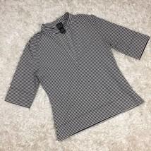 INC International Concepts Size M Shirt Black White Striped Half Sleeve - $10.39