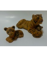 Vintage Felt Covered Mother Tiger with Kitten / Cub And Older Kitten Ins... - $15.59