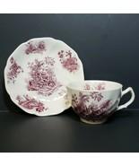 Vintage Johnson Bros Pastorale Toile de Jouy Tea Cup and Saucer Lavender... - $24.99