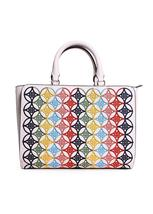 Tory Burch Robinson Embroidered Small Zip Tote in New Ivory Multi image 6