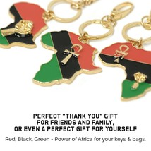 Large Pan African Colored Africa Map Keychain with African & Egyptian Sy... - $9.99