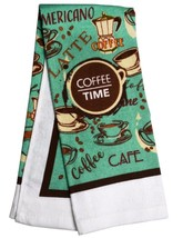 COFFEE TIME KITCHEN TOWEL Cafe Mocha Brown Turquoise Kitchen Linen