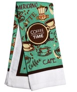 COFFEE TIME KITCHEN TOWEL Cafe Mocha Brown Turquoise Kitchen Linen - £5.06 GBP