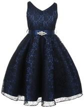 Flower Girl Dress V-Neck Lace Rhinestone Brooch Navy GG 3511 - $34.64+