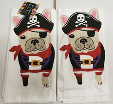 "2 SAME PRINTED COTTON KITCHEN TERRY TOWELS (15""x25"") PIRATE DOG, HALLOWE... - $13.85"