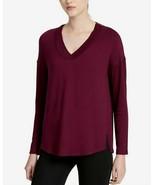 CALVIN KLEIN PERFORMANCE Womens V Neck Vented Hem Merlot Shirt Medium $5... - $16.82
