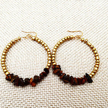 Tiger Eye Gold Beaded Hoop Earrings - $22.00