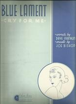 1934 Blue Lament Piano Chords Guitar Ukulele Vintage Sheet Music - $7.95