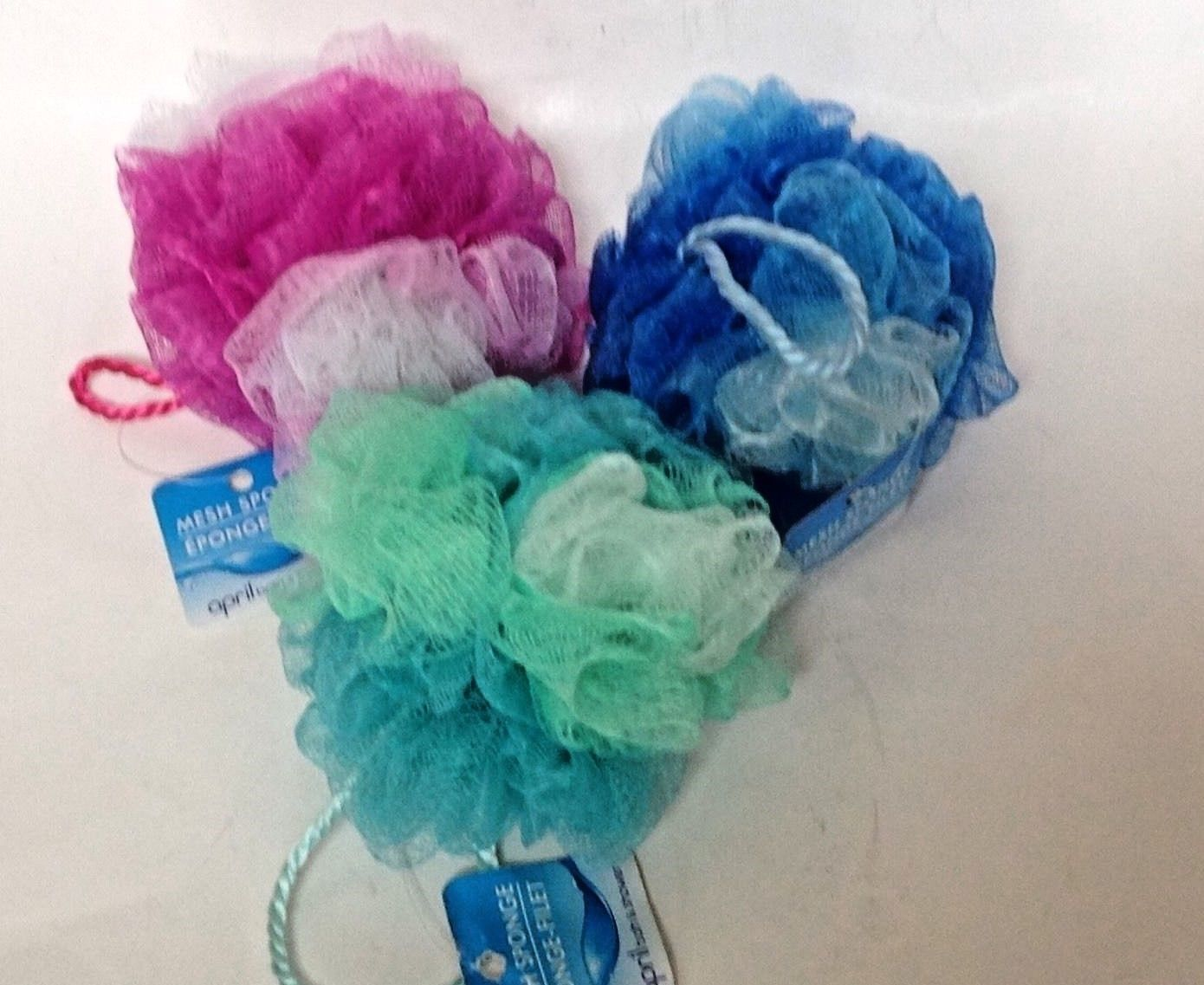 Primary image for Bath Sponge Set of 3 Pink Blue Green Mesh Shower Scrubber Scrubbie New