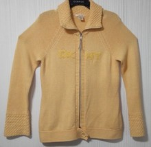 DKNY Jeans Womens L Yellow ribbed Neck Sleeve Full Zip Sweater Pullover ... - $23.21