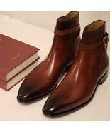 Handmade Men's Brown Jodhpurs Leather Ankle High Boots - $159.97+