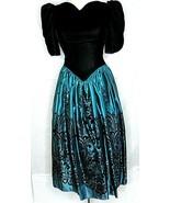 Jessica McClintock Prom Dress Poofy XS Black Velvet Green Satin 70s 80s ... - $94.05