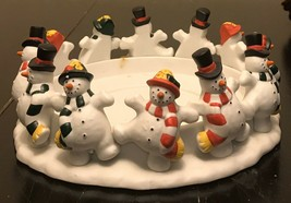 Partylite P7436 Frolicking Frostys 3-WICK Candle Holder In Box Dancing Snowmen - $14.03