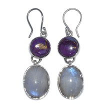 Moonstone With Purple Turquoise Stone 925 Silver Women Wedding Handmade ... - $23.86