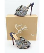NIB Christian Louboutin Moniquissima Paisley Denim Slide Sandals Mules 7... - $575.00