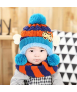 Winter Warm Baby Hat Scarf Set Knitted Cotton bee Hats for Toddlers Cart... - $12.97