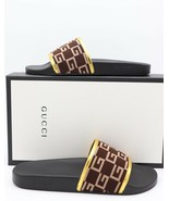 NIB GUCCI Pursuit GG Knit Brown Gold Slide Sandals New 11.5 - $270.67
