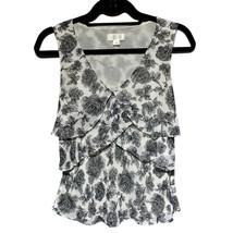 Ann Taylor Loft Mujer Negro Blanco Floral Capas Cuello en V Blusa Top 2 XS - $9.65