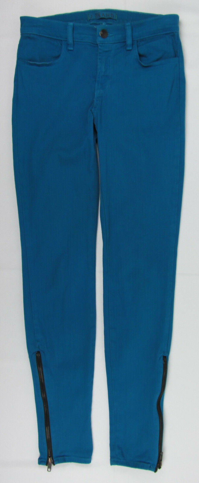 J Brand jeans Azure Ankle Skinny Zipper cuffs USA Made Teal Womens Size 25 image 3
